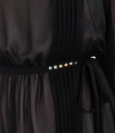 Rochie de seara din voal si aplicatie de cristale Swarovski  pe cordon