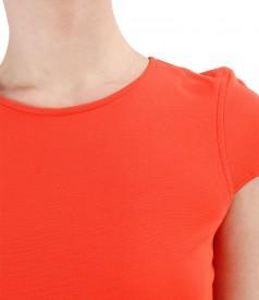 Rochie midi din jerse elastic cu vascoza