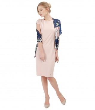 Tinuta de ocazie cu rochie midi din jerse elastic si esarfa din voal imprimat