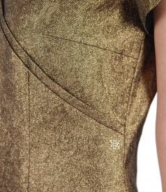 Rochie de ocazie din bumbac elastic metalizat cu aplicatii metalice
