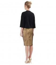 Tinuta de ocazie cu rochie din bumbac elastic metalizat si bolero