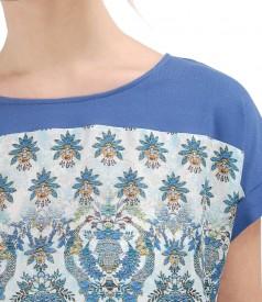Bluza cu fata din vascoza imprimata cu motive florale