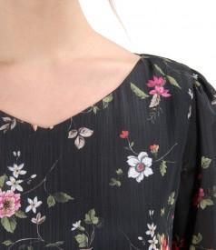Rochie eleganta din voal cu imprimeu floral si garnitura