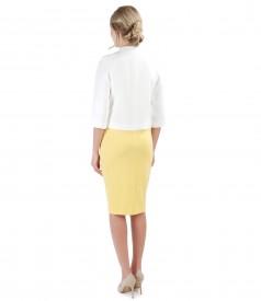 Rochie midi din jerse elastic si bolero cu aplicatie de cristale