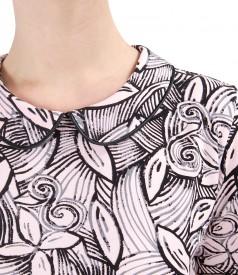 Bluza din jerse elastic cu guler