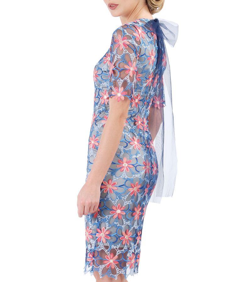 Rochie de seara din dantela brodata cu motive florale