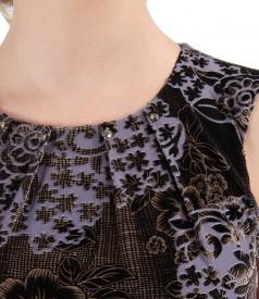 Rochie cu pliuri din catifea imprimata in relief si aplicatie de cristale