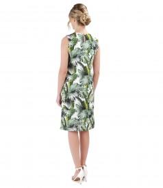 Rochie din jerse imprimat cu motive florale si pliuri pe fata