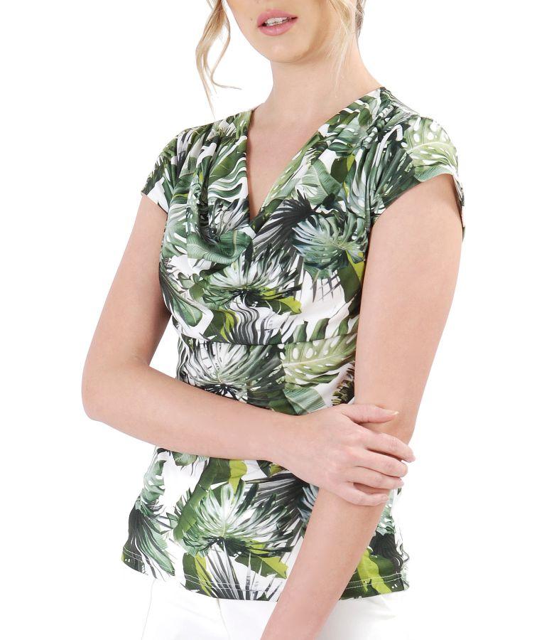 Bluza imprimata cu motive florale si falduri pe fata