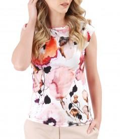 Bluza eleganta din jerse cu imprimeu floral