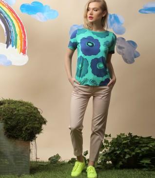 Bluza din jerse imprimat si pantaloni din stofa texturata