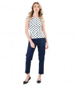Pantaloni din bumbac elastic cu tricou imprimat cu motive florale