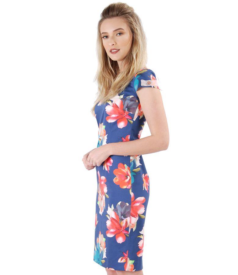 Rochie midi din bumbac elastic cu imprimeu floral