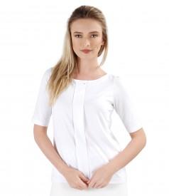 Bluza din jerse elastic cu fald si aplicatie de cristale