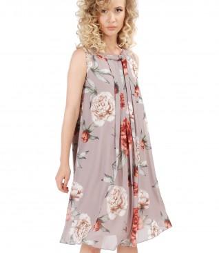 Rochie din voal imprimat cu movite florale
