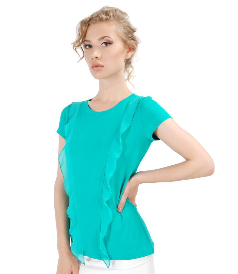 Bluza din jerse elastic cu insertii din voal