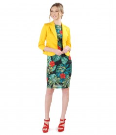 Rochie cu imprimeu floral si sacou din bumbac elastic