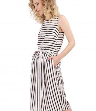 Rochie din viscoza imprimata cu dungi