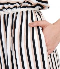 Rochie din vascoza imprimata cu dungi