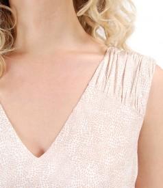 Rochie evazata din vascoza imprimata cu picouri