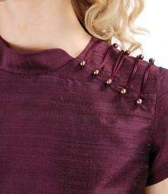 Rochie din tafta de matase cu perle