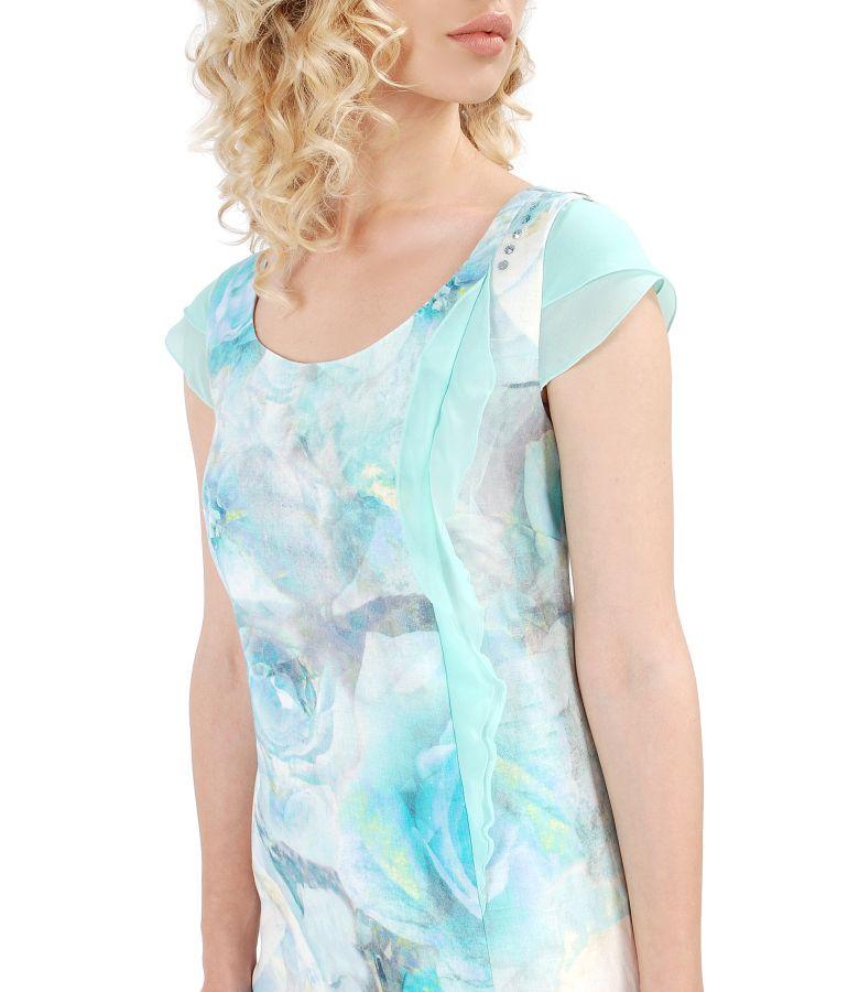 Rochie din in cu garnitura din voal si aplicatie de cristale