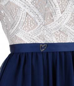 Rochie din vascoza cu corsaj cu paiete