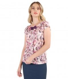 Bluza din jerse elastic imprimat cu motive geometrice