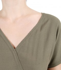 Salopeta din viscoza cu buzunare si garnitura elastic