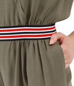 Salopeta din vascoza cu buzunare si garnitura elastic