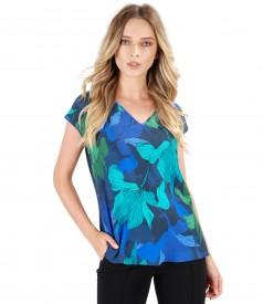 Bluza lejera cu fata din viscoza imprimata cu motive florale