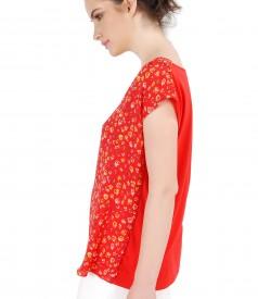 Bluza lejera cu fata imprimata cu motive florale