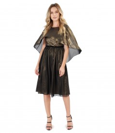 Tinuta de ocazie cu capa si rochie din voal sidefat