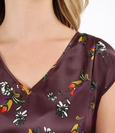 Bluza lejera cu fata din matase imprimata cu motive florale