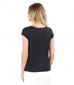 Bluza din jerse elastic imprimat cu picouri