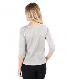 Bluza gri din tricot cu fir argintiu