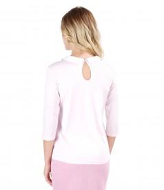 Bluza din jerse elastic cu guler din dantela sparta