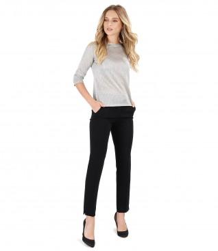 Bluza din tricot cu fir argintiu si pantaloni pana