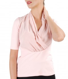 Bluza din jerse elastic cu bust petrecut din voal