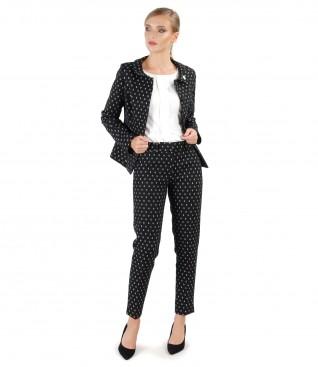 Costum office dama cu sacou si pantaloni din bumbac imprimat