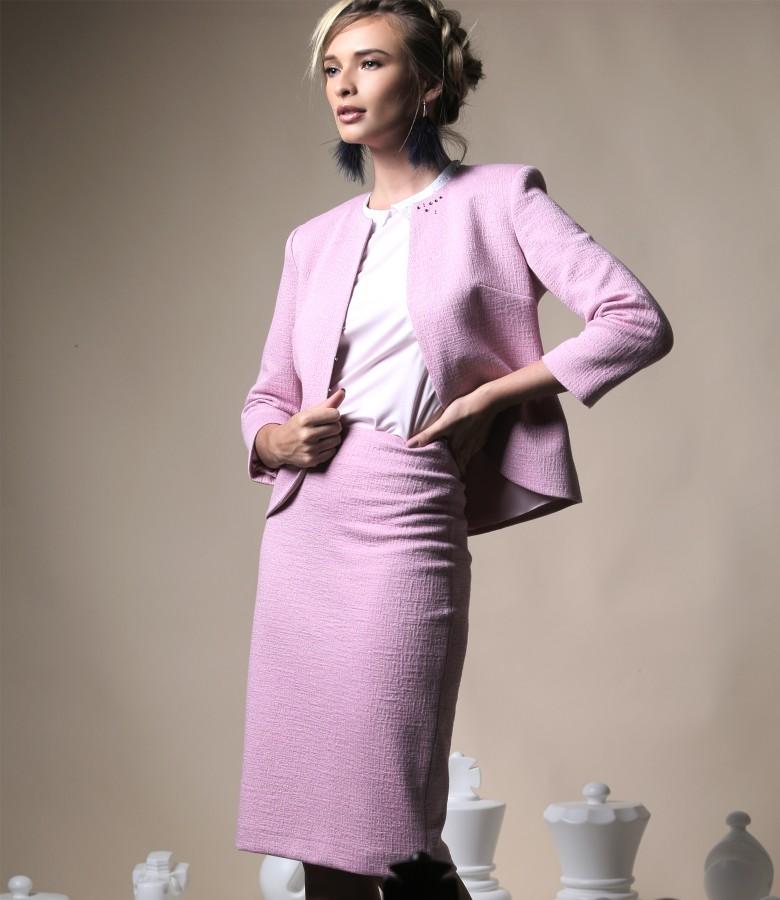 Costum office dama cu sacou si fusta din stofa textura din bumbac cu fir de efect