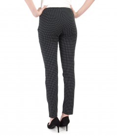 Pantaloni pana din stofa elastica brocata cu picouri