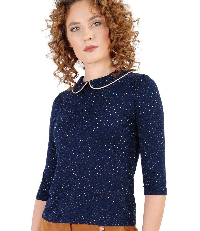 Bluza cu guler din jerse elastic