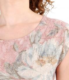 Rochie din brocart elastic cu fir metalic auriu