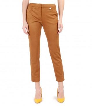 Pantaloni din stofa cu aspect catifelat