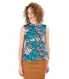 Bluza din jerse elastic gros cu aspect catifelat