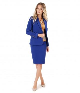 Costum office dama cu sacou si fusta din stofa texturata elastica