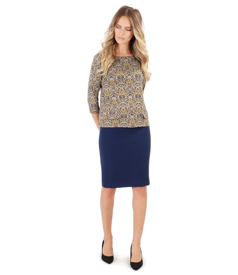 Tinuta eleganta cu fusta midi si bluza din jerse elastic imprimat