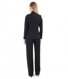 Costum office dama cu sacou si pantaloni din stofa elastica