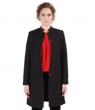 Jacheta din lana cu fir de efect aramiu